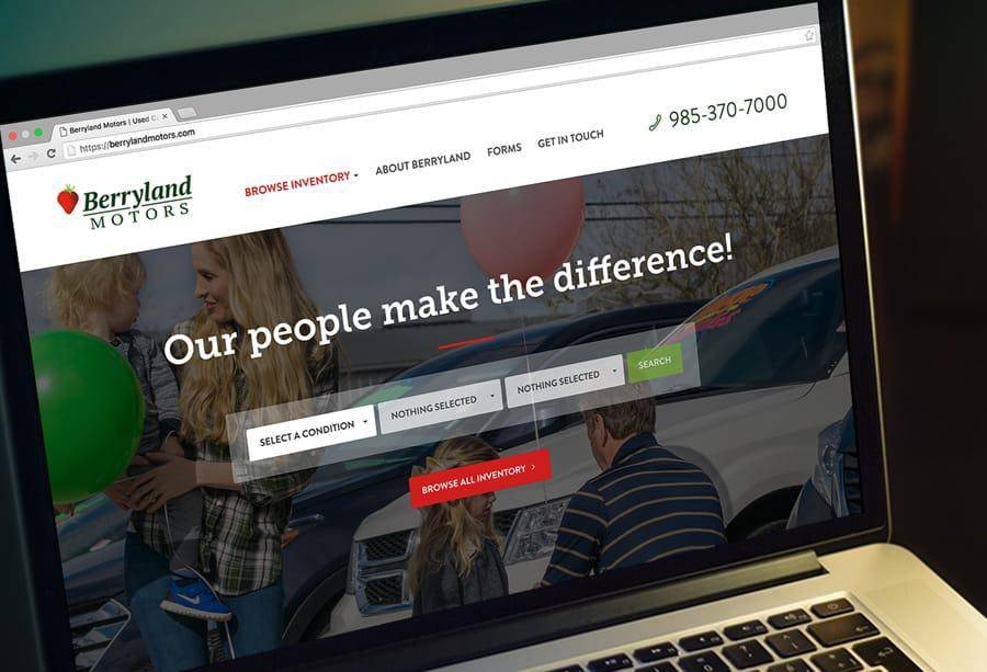 Berryland Motors website mocked up on a laptop