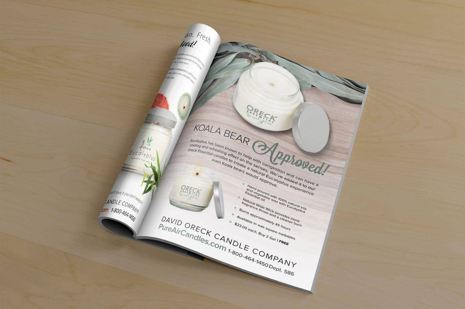 Oreck candles design in a magazine ad